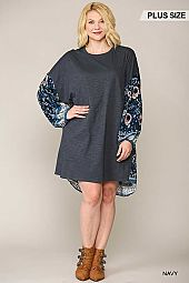 Print Mixed Drop Shoulder Dress with Pockets