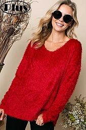HIGH LOW FUZZY CHUNKY SOFT TOUCH SWEATER