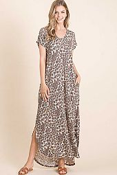 ANIMAL PRINT MAXI DRESS WITH SIDE POCKET
