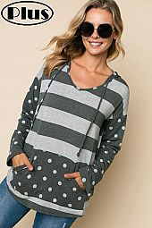 TERRY STRIPE POLKA DOT MIX HOODIE BOXY PLUS TOP