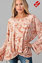 PAISLEY KNOTTED HEM WIDE SLEEVE TOP PLUS