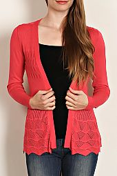SCALLOP HEM OPEN CARDIGAN