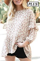 FLORAL FLOWY RUFFLE PLUS TOP