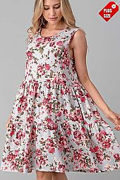 FLORAL  PRINT TIER RUFFLE DRESS PLUS