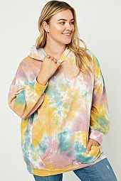 Plus Tie-Dye Drop Shoulder Hoodie
