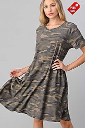 CAMO PRINT POCKET SWING DRESS PLUS