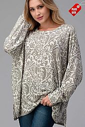 DAMASK SLIT SIDE OVER SIZED TOP PLUS