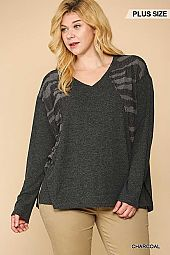 Brushed Rib and Textured Knit Mixed Tunic Top