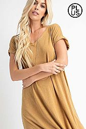 PLUS MINERAL WASHED SIDE SLIT LIGHT DRESS