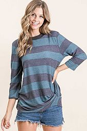 WIDE STRIPED FRENCH TERRY ROUND NECK TOP