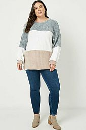 Plus Chunky Knit Colorblock Top