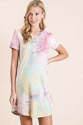 TIE DYE PRINT SHORT SLEEVE DRESS