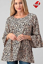 BIG CAT PRINT RUFFLE SLEEVE  TOP