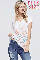 Plus Wave tie dye v neck short sleeve top