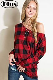 PLAID PRINT ONE SHOULDER LONG DOLMAN SLEEVE TOP