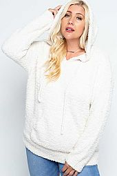 FUZZY HOODIE POCKET PULLOVER SWEATER