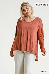 Ribbed and Raw Edged Detail Long Sleeve Top