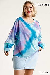 Tie Dye Twisted Round Neck Long Sleeve Top