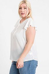 PLUS FRILL SHORT SLEEVE WOVEN TOP