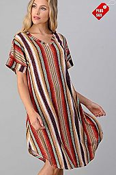 MULTI PRINT V NECK ROUND BOTTOM DRESS PLUS