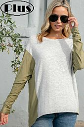 COLOR BLOCKED V NECK LONG SLEEVE HIGH LOW BOXY PLUS TOP