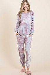 TIE DYE OAKLEY ROUND NECK LOUNGE SET