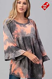 TIE DYE SHIRRED RUFFLE SLEEVE TOP PLUS