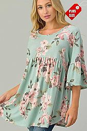 FLORAL RUFFLE SLEEVE SHIRRED TUNIC TOP PLUS