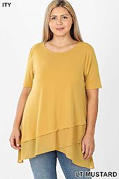 PLUS ITY FRONT OVERLAP CHIFFON CONTRAST TOP