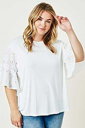 Plus Eyelet Bell Sleeve Tee