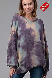 TIE DYE TWIST HEM BUBBLE  SLEEVE TOP PLUS