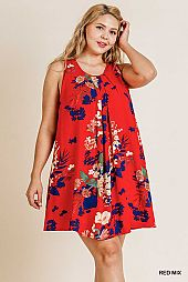FLORAL PRINT SLEEVELESS ROUND NECK DRESS