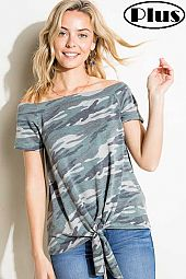 CAMOUFLAGE OFFSHOULDER FRONT TIE BOTTOM TOP
