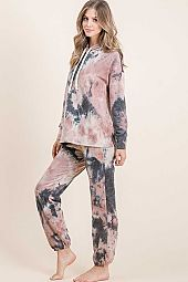 TIE DYE FRENCH TERRY LONG SLEEVE HOODIE LOUNGE SET