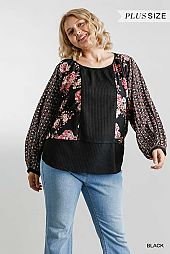 Floral Mixed Printed Long Puff Sleeve Waffle Knit Top