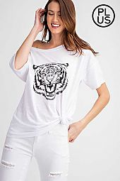 Tiger Screen Print Short Sleeve Top
