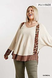 Animal Print Dolman Sleeve Waffle Knit Top