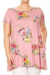 PLUS FLORAL TRAPEZE TOP