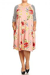 STRIPE SLEEVES FLORAL FLARING MIDI DRESS