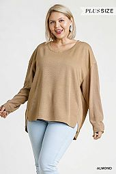 Button on Sleeve High Low Hem Top