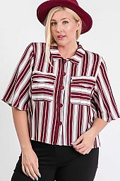 STRIPE PRINT BIG POCKET SHIRTS