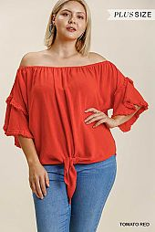 Layered Ruffle Sleeve Off Shoulder Top