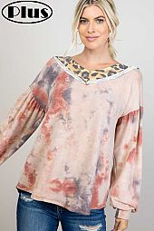 TERRY TIE DYE CHEETAH MIX WIDE V NK BOXY PLUS TOP