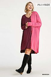 Round Neck Raw Edged Long Dolman Sleeve Dress