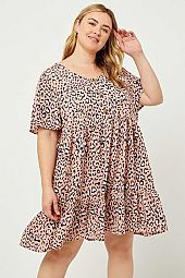 Leopard Button-Down Swing Dress