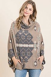 AZTEC PRINTED COWL NECK PONCHO WITH POCKET