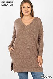 PLUS LONG SLEEVE V-NECK BRUSHED MELANGE SWEATER