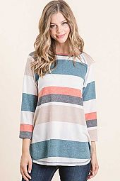 BRUSHED FRENCH TERRY MULTI STRIPE HALF SLEEVE TOP