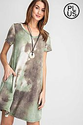 Plus Tie Dye Printed V Neckline Swing Dress