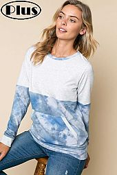TERRY TIE DYE SOLID MIX FRONT POCKET PLUS TOP